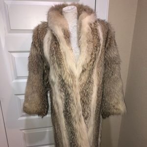 Jackets & Blazers - Long Real Coyote Fur Coat with Huge Collar